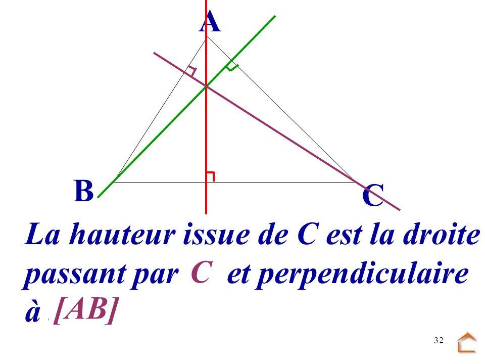 B C A La hauteur issue de C est la droite passant par .... et perpendiculaire à ... C [AB]